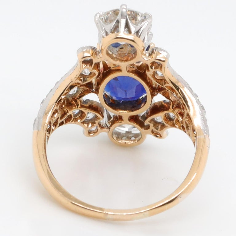 Antique Tiffany & Co. 4.33 Carat Kashmir Sapphire No Heat Diamond Gold Ring For Sale 3