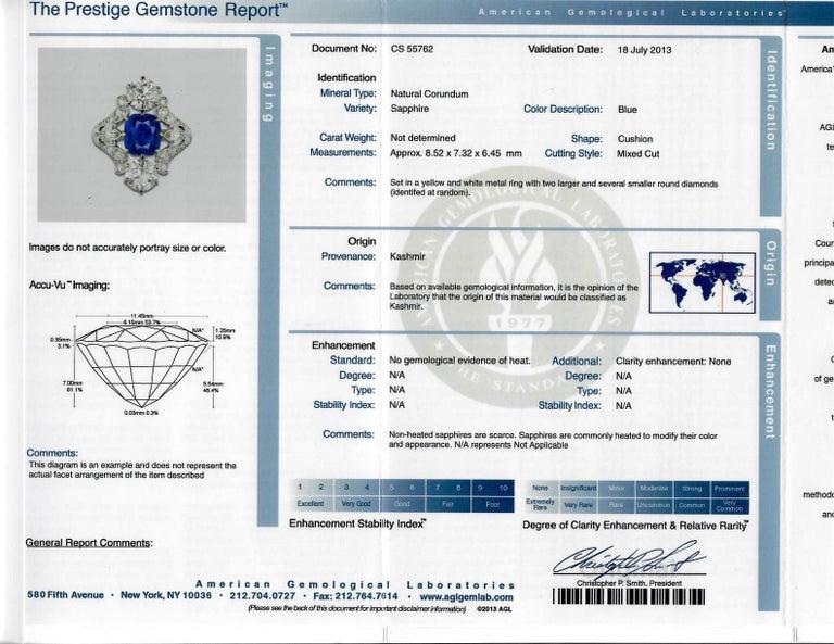 Antique Tiffany & Co. 4.33 Carat Kashmir Sapphire No Heat Diamond Gold Ring For Sale 2