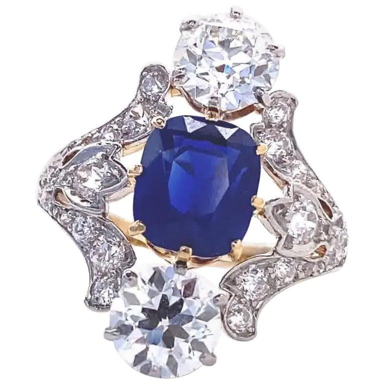 Antique Tiffany & Co. 4.33 Carat Kashmir Sapphire No Heat Diamond Gold Ring For Sale
