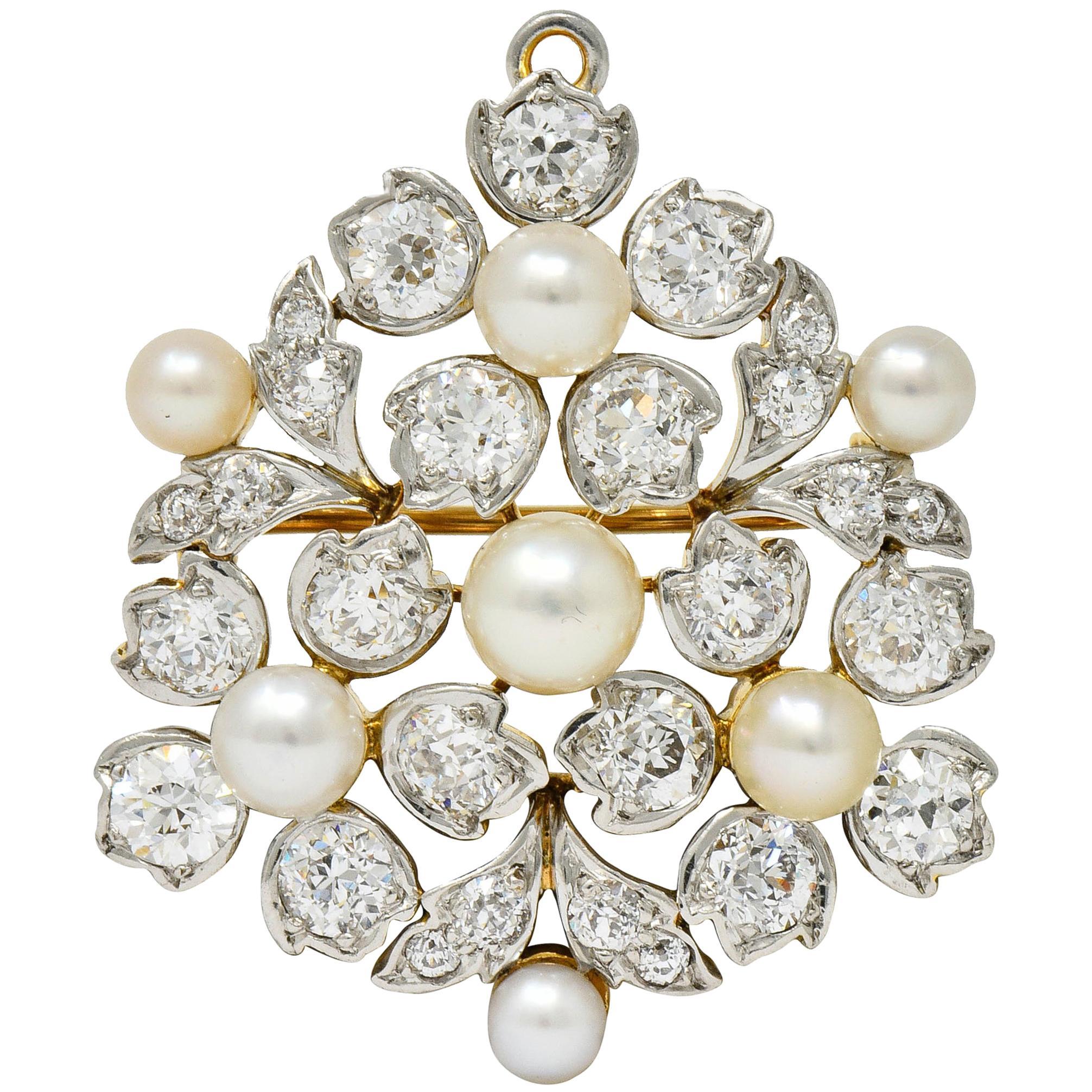 Antique Tiffany & Co. Paulding Farnham Diamond Natural Pearl Platinum Pendant