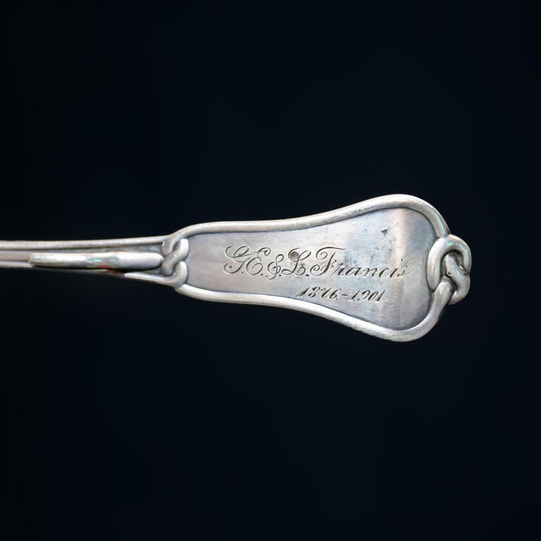Cast Antique Tiffany & Co. Sterling Silver Basting Spoon with Pretzel Finial For Sale