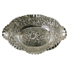 Antique Tiffany & Company Sterling Silver Fern and Flowers Repousse Bowl