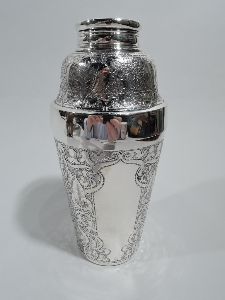 American Antique Tiffany Edwardian Art Nouveau Cocktail Shaker with Hunt Scene For Sale