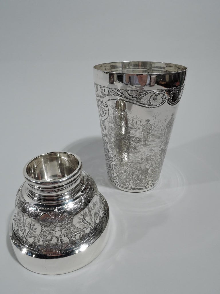 Antique Tiffany Edwardian Art Nouveau Cocktail Shaker with Hunt Scene In Excellent Condition For Sale In New York, NY
