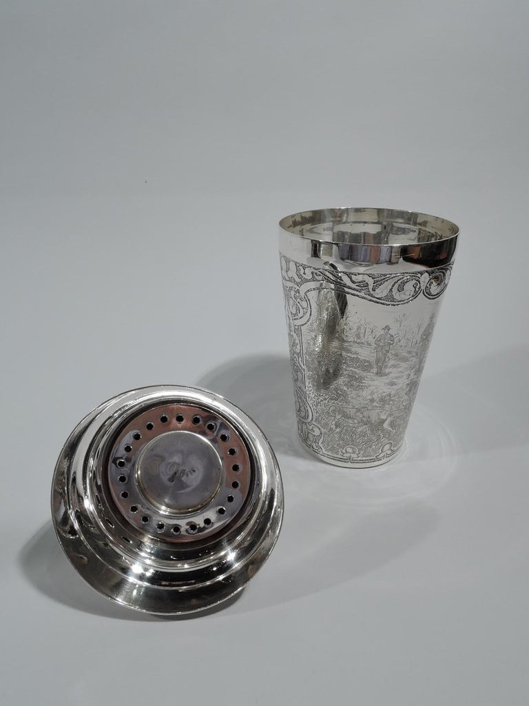19th Century Antique Tiffany Edwardian Art Nouveau Cocktail Shaker with Hunt Scene For Sale