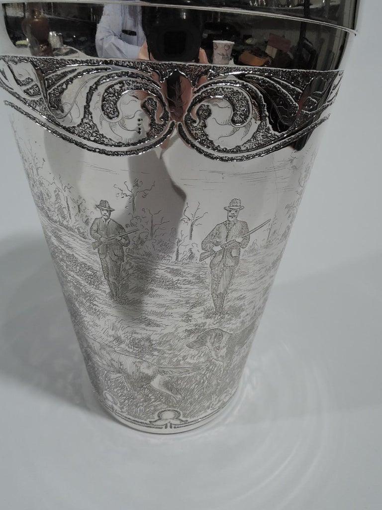 Antique Tiffany Edwardian Art Nouveau Cocktail Shaker with Hunt Scene For Sale 2