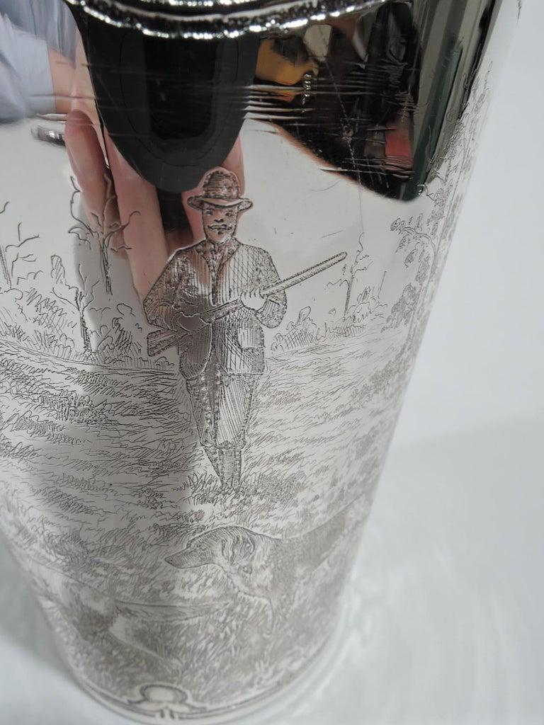 Antique Tiffany Edwardian Art Nouveau Cocktail Shaker with Hunt Scene For Sale 3