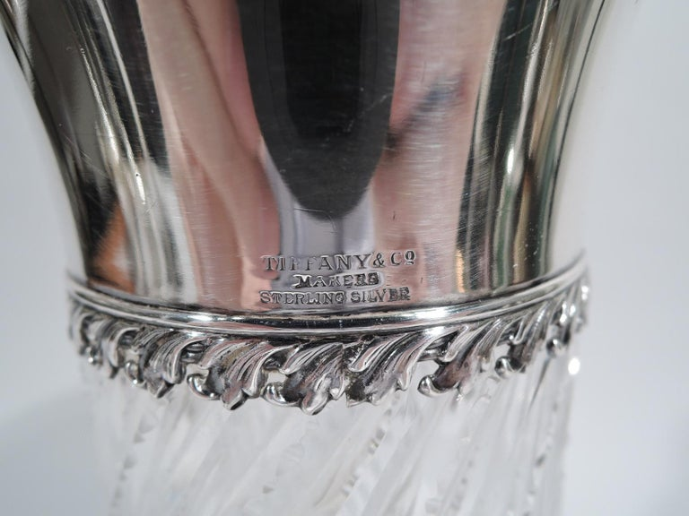 20th Century Antique Tiffany Edwardian Cut-Glass and Sterling Silver Claret Jug