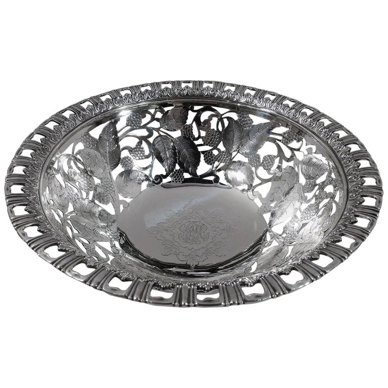 Antique Tiffany Edwardian Sterling Silver Blackberry Bowl For Sale