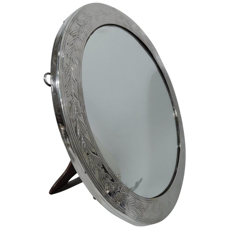 Antique Tiffany Empire Revival Sterling Silver Table Mirror For Sale