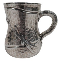 Antique Tiffany Japonesque Applied Sterling Silver Dragonfly Mug