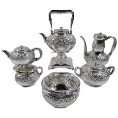Antique Tiffany Repousse Sterling Silver Coffee & Tea Set