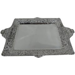 Antique Tiffany Repousse Sterling Silver Tray