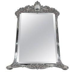 Antique Tiffany Rococo Revival Sterling Silver Vanity Mirror