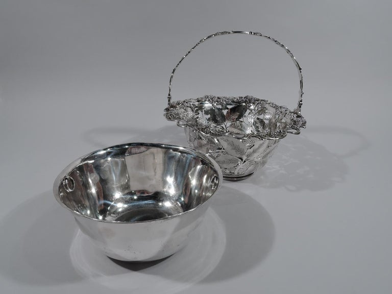 Edwardian Antique Tiffany & Co. Sterling Silver Blackberry Basket with Lots of Charm For Sale
