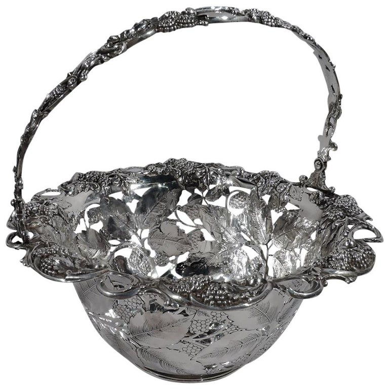 Antique Tiffany & Co. Sterling Silver Blackberry Basket with Lots of Charm For Sale
