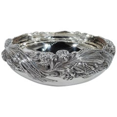 Antique Tiffany Sterling Silver Bowl with Rare Pinecone Motif