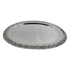 Antique Tiffany Sterling Silver Tray in English King Pattern