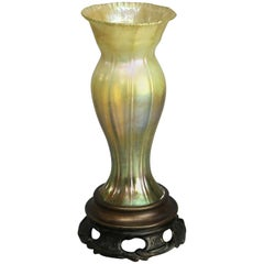 Antique Tiffany Studios Favrile Glass and Bronze Vase, Signed, circa 1920s