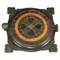 Antique Tiffany Studios Mosaic Favrile Glass and Bronze Celtic Cross Trivet