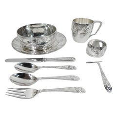Antique Tiffany Sumptuous 9-Piece Baby Set with Thrifty Squirrel