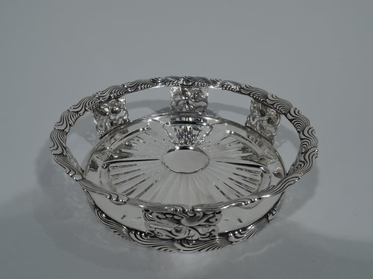 Aesthetic Movement Antique Tiffany Wave Edge Sterling Silver Wine Coaster For Sale
