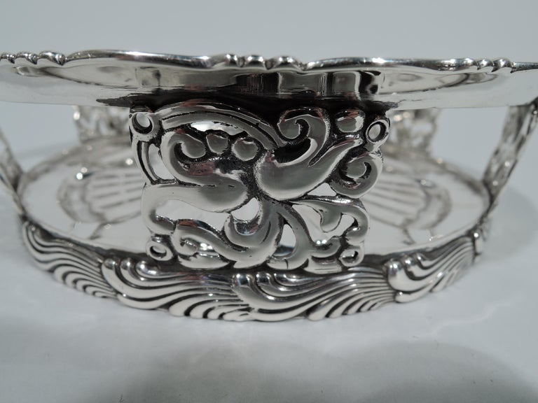 American Antique Tiffany Wave Edge Sterling Silver Wine Coaster For Sale