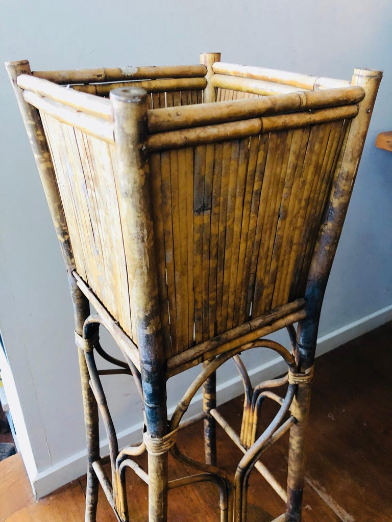 Antique Tiger Bamboo And Rattan Tall Plant Stand