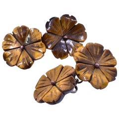 Antique Tiger Eye Flower Form Cufflinks, circa 1900, Pair