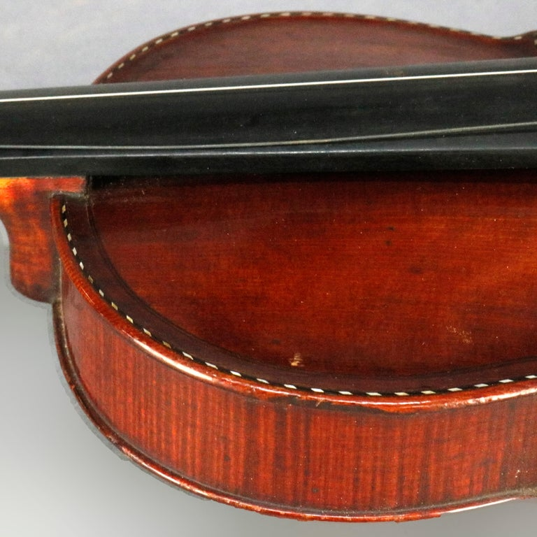Antique Tiger Maple Violin with Case, Vincent Panormo, circa 1850 For Sale 3