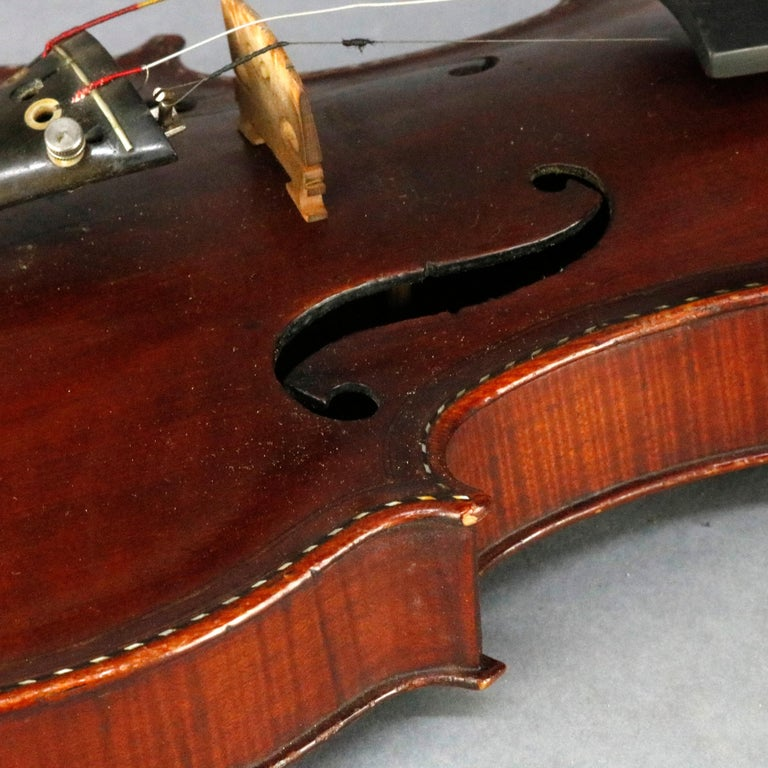 Antique Tiger Maple Violin with Case, Vincent Panormo, circa 1850 For Sale 4