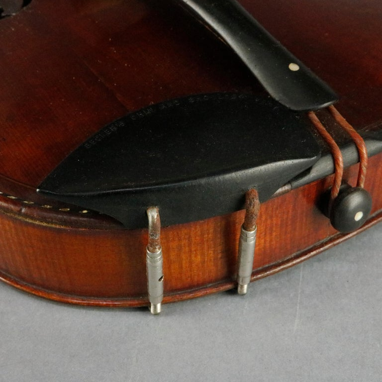 Antique Tiger Maple Violin with Case, Vincent Panormo, circa 1850 For Sale 6