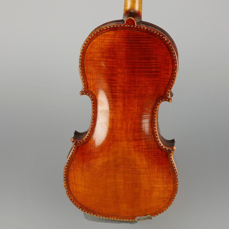 Antique Tiger Maple Violin with Case, Vincent Panormo, circa 1850 For Sale 9