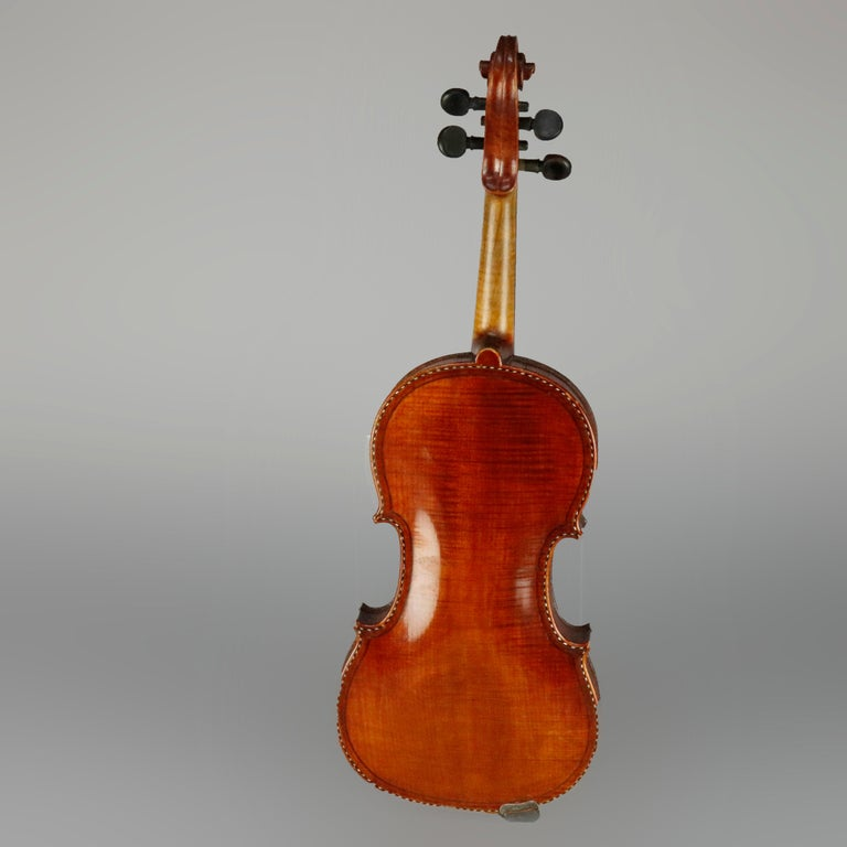 Italian Antique Tiger Maple Violin with Case, Vincent Panormo, circa 1850 For Sale
