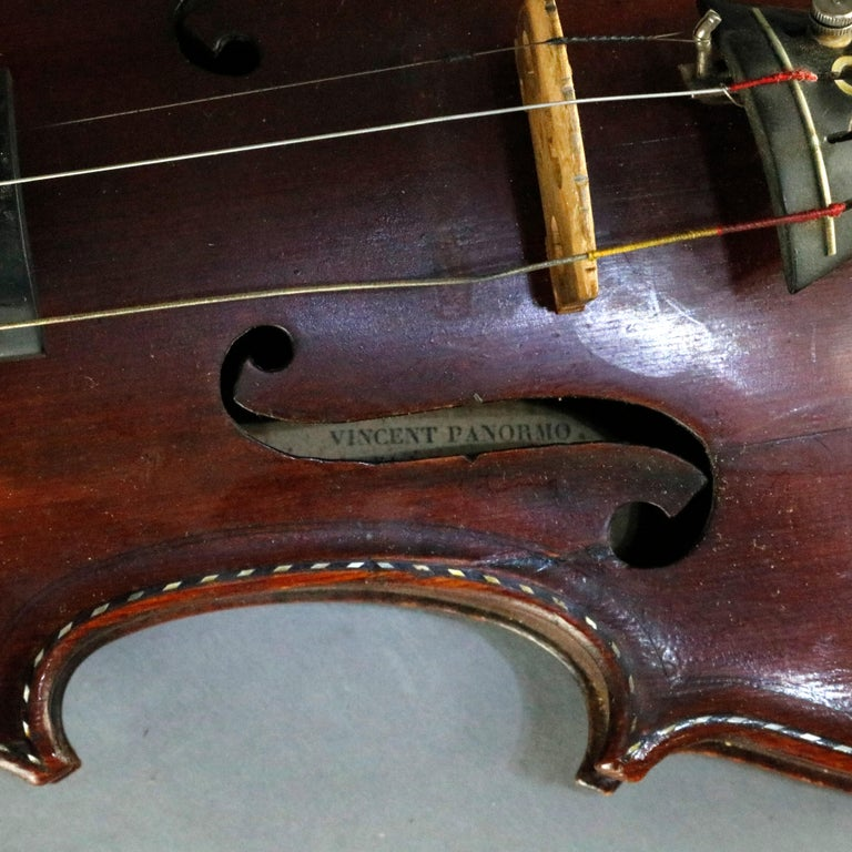 Carved Antique Tiger Maple Violin with Case, Vincent Panormo, circa 1850 For Sale