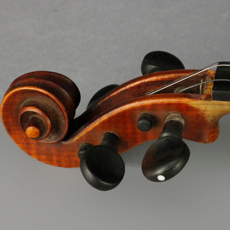 Wood Antique Tiger Maple Violin with Case, Vincent Panormo, circa 1850 For Sale
