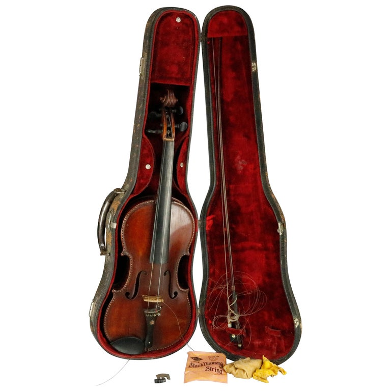 Antique Tiger Maple Violin with Case, Vincent Panormo, circa 1850 For Sale