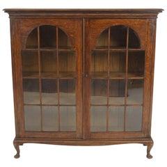 Antique Tiger Oak Bookcase, Display Cabinet, Scotland 1920, B2209