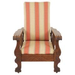 Antique Tiger Oak Chair, Reclining Morris Chair, American 1920, B2320