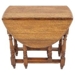 Antique Tiger Oak Gateleg Table, Scotland 1920, Antique Furniture