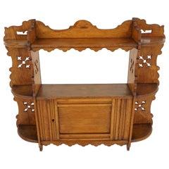 Antique Tiger Oak Hanging Wall Cabinet, Display Cabinet, Scotland 1890, B2147
