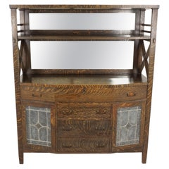 Antique Tiger Oak Sideboard, Arts & Crafts, Mirror Back, American 1915, B2073