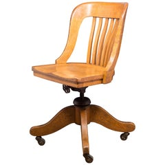 Antique Tiger Oak Swivel Desk Chair, circa 1900-1920