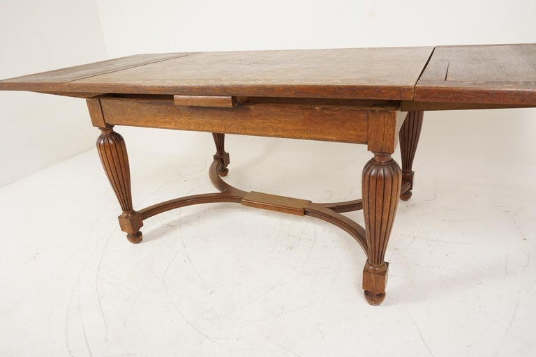 Antique Tiger Oak Table, Parquetry Pull Out Refectory Table, France 1920, B2741 For Sale 4
