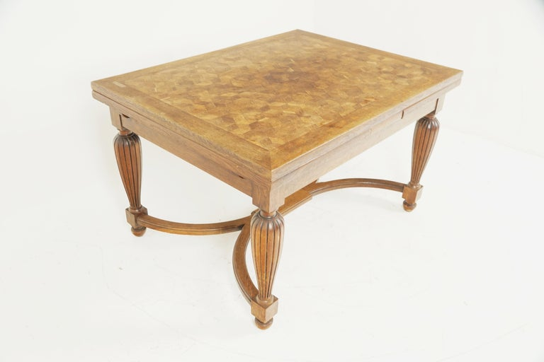 Scottish Antique Tiger Oak Table, Parquetry Pull Out Refectory Table, France 1920, B2741 For Sale