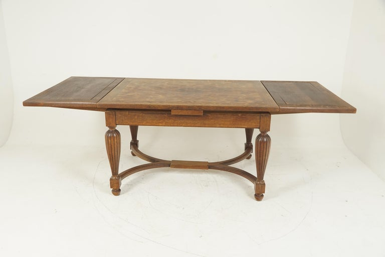 Hand-Crafted Antique Tiger Oak Table, Parquetry Pull Out Refectory Table, France 1920, B2741 For Sale