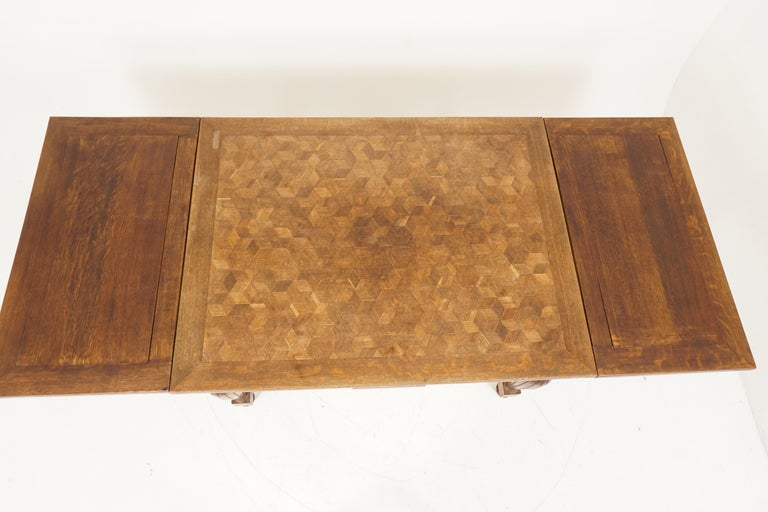 Antique Tiger Oak Table, Parquetry Pull Out Refectory Table, France 1920, B2741 In Good Condition For Sale In Vancouver, BC