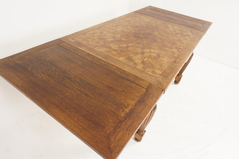Early 20th Century Antique Tiger Oak Table, Parquetry Pull Out Refectory Table, France 1920, B2741 For Sale
