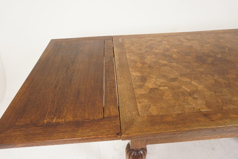 Antique Tiger Oak Table, Parquetry Pull Out Refectory Table, France 1920, B2741 For Sale 1