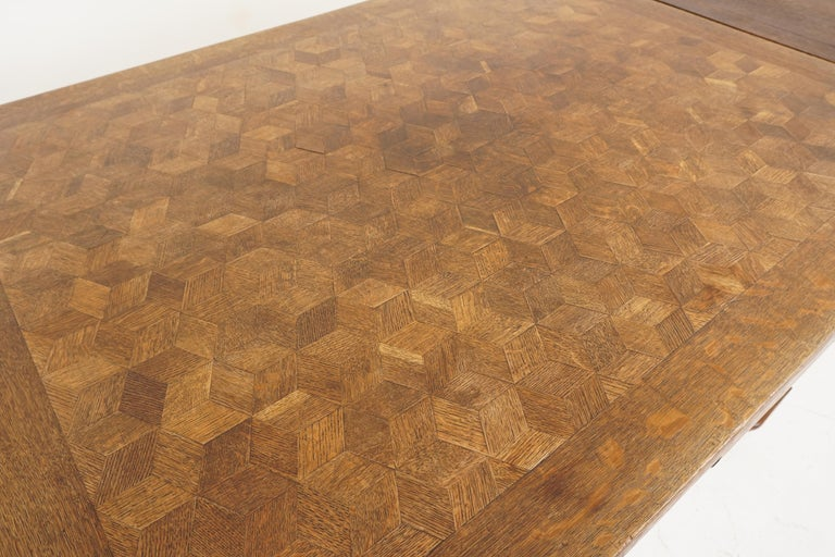 Antique Tiger Oak Table, Parquetry Pull Out Refectory Table, France 1920, B2741 For Sale 2